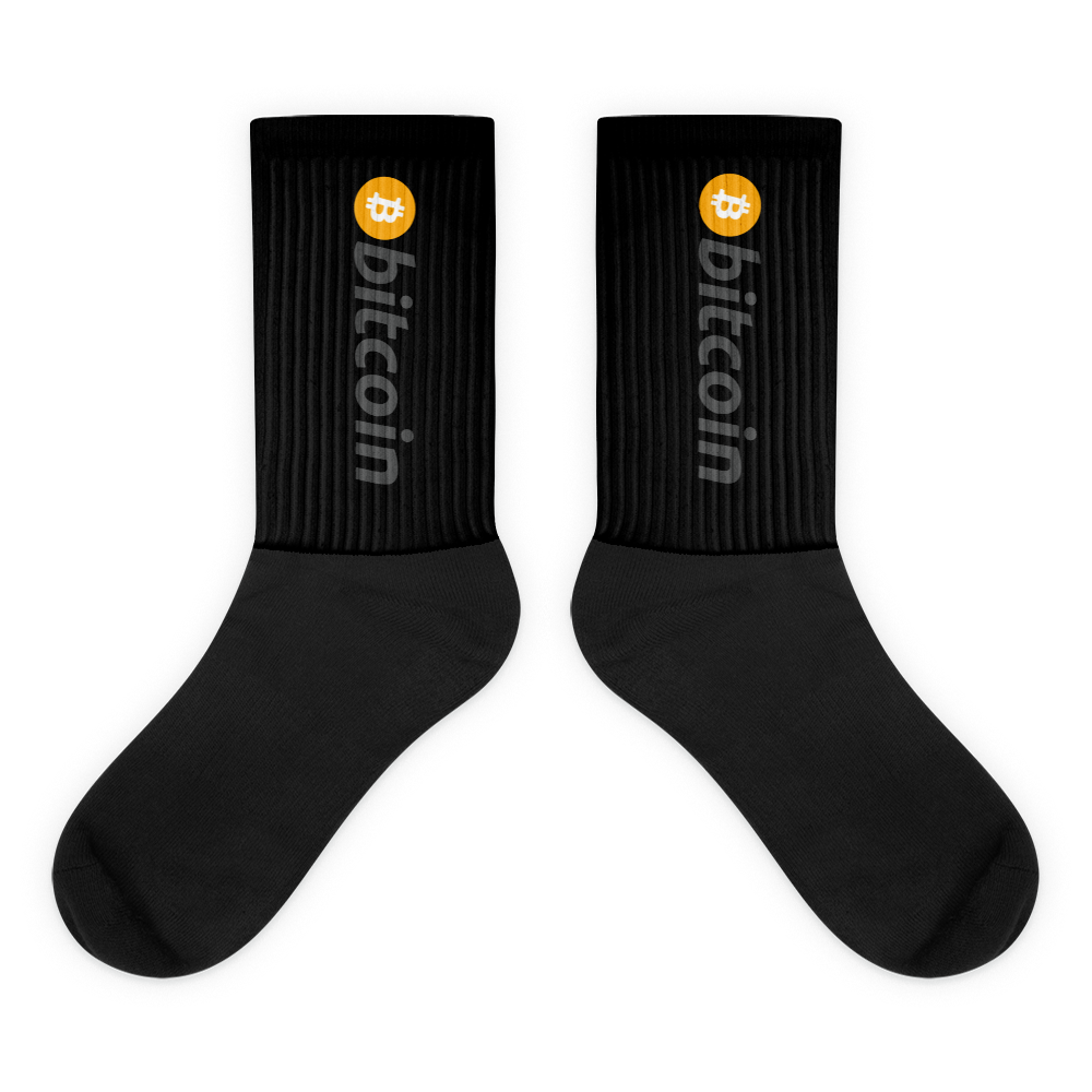 Black Bitcoin Socks With Orange and Grey Bitcoin Logo