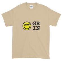 Load image into Gallery viewer, Sand Short Sleeve T-Shirt With Yellow and Black Grin Smiley Face Logo