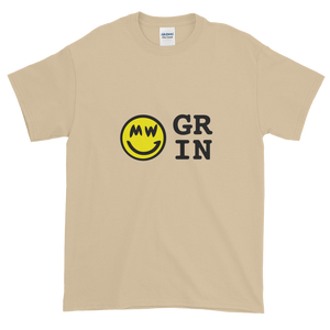Sand Short Sleeve T-Shirt With Yellow and Black Grin Smiley Face Logo