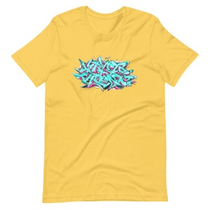 Yellow Short Sleeve T-Shirt With Krypto Threadz Graffiti Design