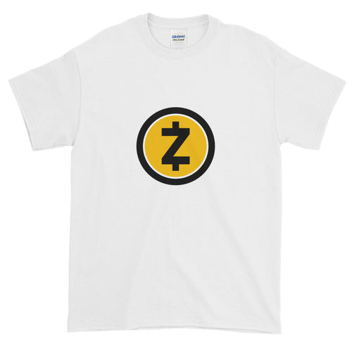White Short Sleeve T Shirt With Yellow and Black ZCash Logo
