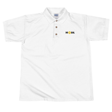 Load image into Gallery viewer, White Short Sleeve Polo Shirt With Krypto Threadz Bitcoin HODL Logo