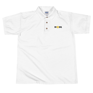 White Short Sleeve Polo Shirt With Krypto Threadz Bitcoin HODL Logo