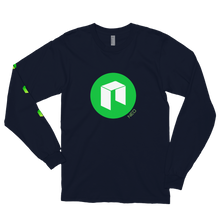 Load image into Gallery viewer, Navy Blue Long Sleeve Unisex NEO T Shirt With Green NEO Logos On Chest and Right Arm