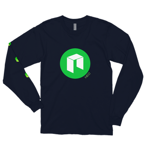 Navy Blue Long Sleeve Unisex NEO T Shirt With Green NEO Logos On Chest and Right Arm