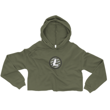 Load image into Gallery viewer, Women's Military Green Crop Top Hoodie With Grey and White Litecoin Logo on Front