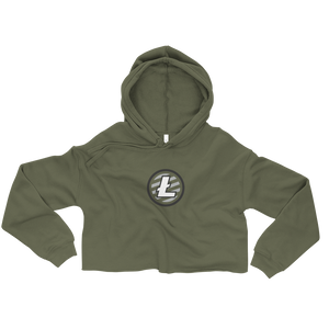 Women's Military Green Crop Top Hoodie With Grey and White Litecoin Logo on Front