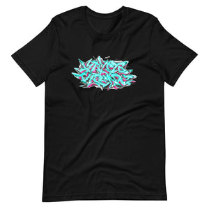 Black Short Sleeve T-Shirt With Krypto Threadz Graffiti Design