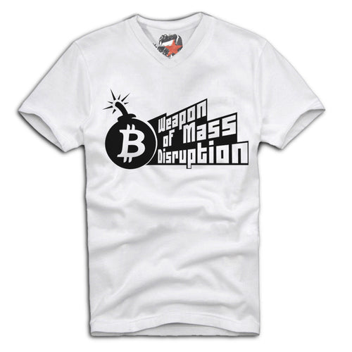 White Short Sleeve T Shirt With Weapons of Mass Disruption Design