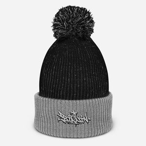 Black and White Beanie with Pom Pom on Top and Bitcoin Graffiti Design in Black and White