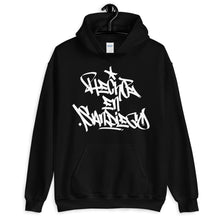 "Load image into Gallery viewer, Black Krypto Threadz Hoodie with ""Hecho En San Diego"" tag in White"