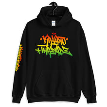 Load image into Gallery viewer, Black Krypto Threadz Hoodie with Krypto Threadz Rasta Design in Red, Gold, and Green