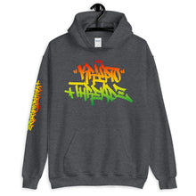 Load image into Gallery viewer, Grey Krypto Threadz Hoodie with Krypto Threadz Rasta Design in Red, Gold, and Green