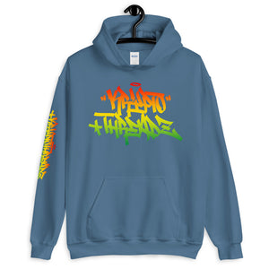Light Blue Krypto Threadz Hoodie with Krypto Threadz Rasta Design in Red, Gold, and Green