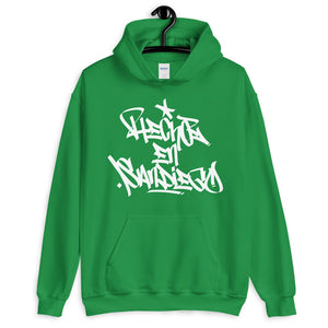 "Green Krypto Threadz Hoodie with ""Hecho En San Diego"" tag in White"