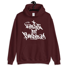 "Load image into Gallery viewer, Maroon Krypto Threadz Hoodie with ""Hecho En San Diego"" tag in White"