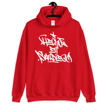 "Load image into Gallery viewer, Red Krypto Threadz Hoodie with ""Hecho En San Diego"" tag in White"