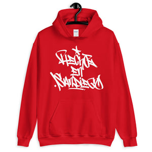 "Red Krypto Threadz Hoodie with ""Hecho En San Diego"" tag in White"