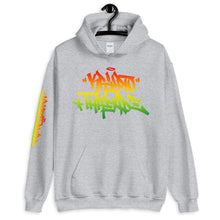 Load image into Gallery viewer, Ash Krypto Threadz Hoodie with Krypto Threadz Rasta Design in Red, Gold, and Green