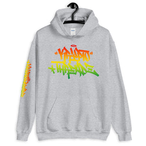Ash Krypto Threadz Hoodie with Krypto Threadz Rasta Design in Red, Gold, and Green