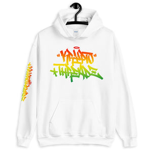 White Krypto Threadz Hoodie with Krypto Threadz Rasta Design in Red, Gold, and Green