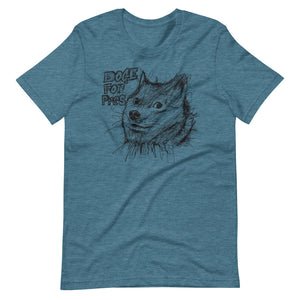 Heather Deap Teal Short Sleeve T-Shirt With Dogecoin Dog in Scribble Art