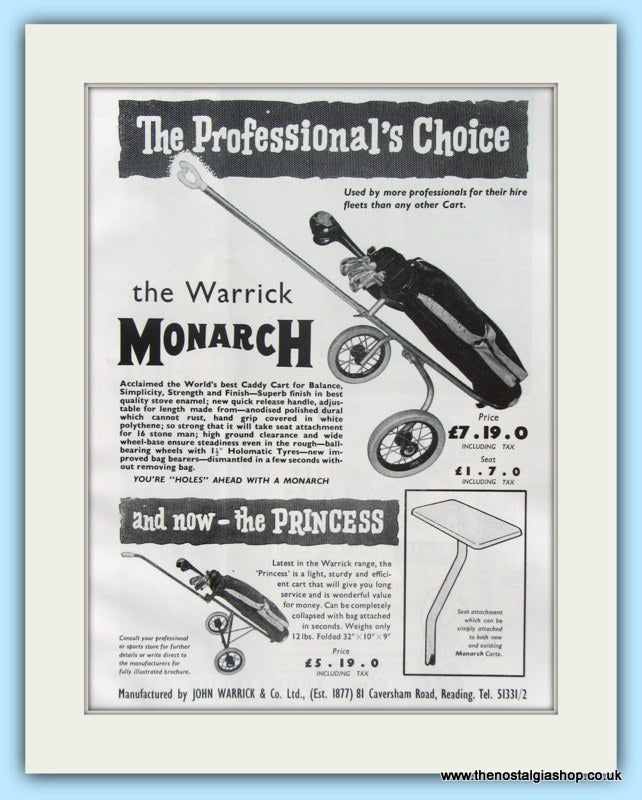 Warrick Monarch Golf Cart. Original Advert 1961 (ref AD4964)