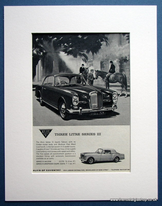 Alvis Series III Sports Saloon 1964 Original Advert (ref AD1458)