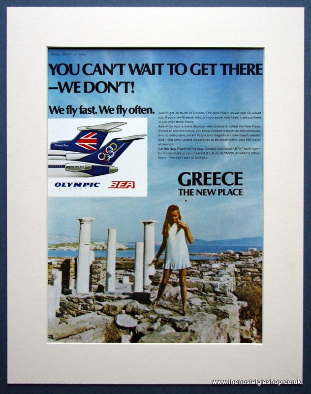 Olympic Airways & BEA Greece Tourism Original advert 1969 (ref AD963)