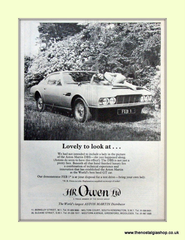 Aston Martin HR Owen Ltd Distributor Original Advert 1969 (ref AD6687)
