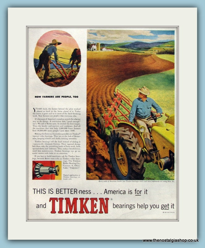 Timken Bearings Original Advert 1958 (ref AD8273)