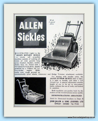 Allen Sickles. Original Advert 1960 (ref AD4636)