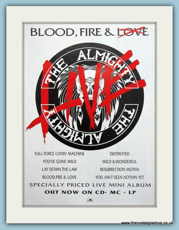 The Almighty, Blood Fire and Live. 1990 Original Advert (ref AD3147)