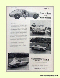 Aston Martin DB2 Le Mans Original Advert 1953 (ref AD6714)