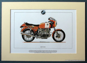 BMW R90S Mounted Motorcycle Print. (ref PR3010)