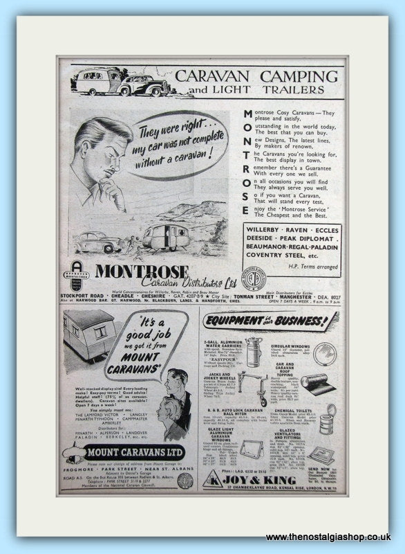 Montrose Caravans, Mount Caravans & Joy & King Equipment Original Advert 1953 (ref AD6338)