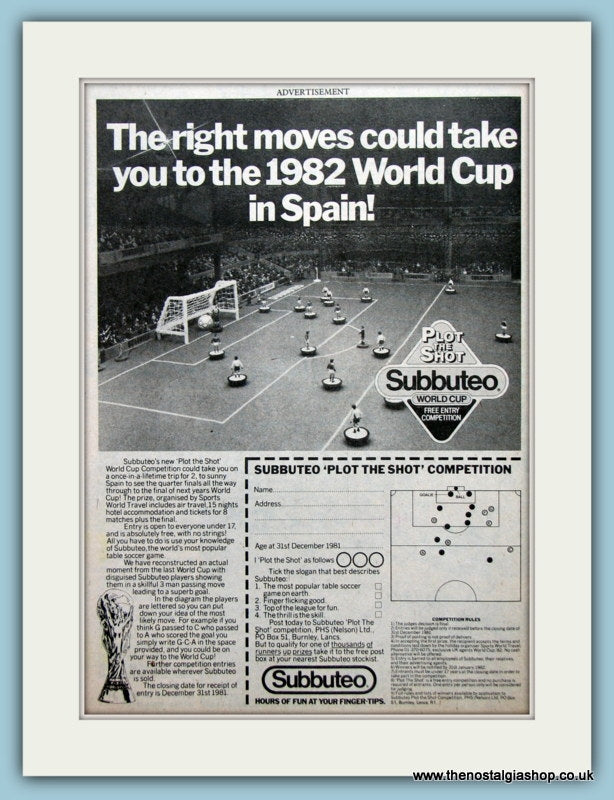 Subbuteo Competition Original Advert 1981 (ref AD2669)