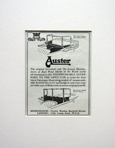 Auster Car Wind Shield Original Advert 1924 (ref AD1511)
