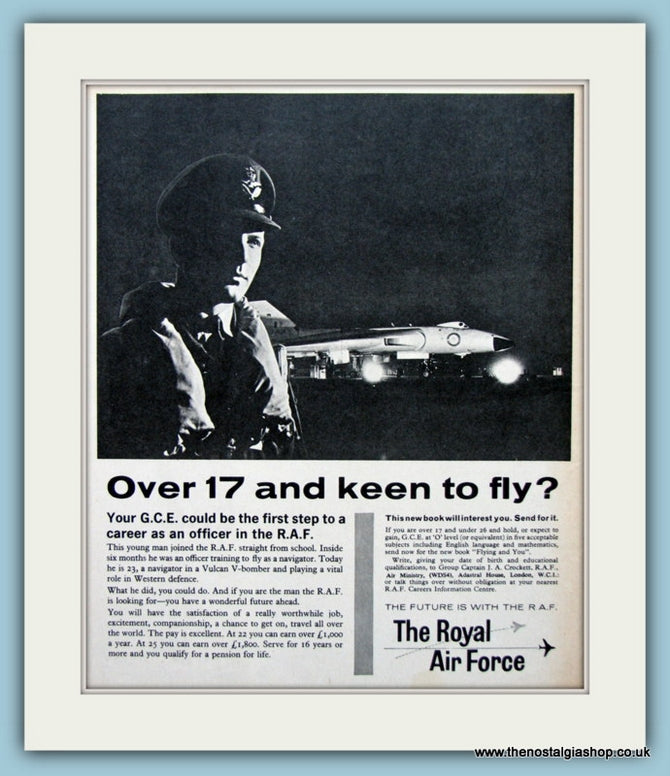 The R.A.F Vulcan V Bomber Original Advert 1962 (ref AD6298)
