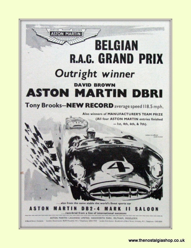 Aston Martin DB 2 Mark II Saloon Grand Prix Original Advert 1957 (ref AD6761)