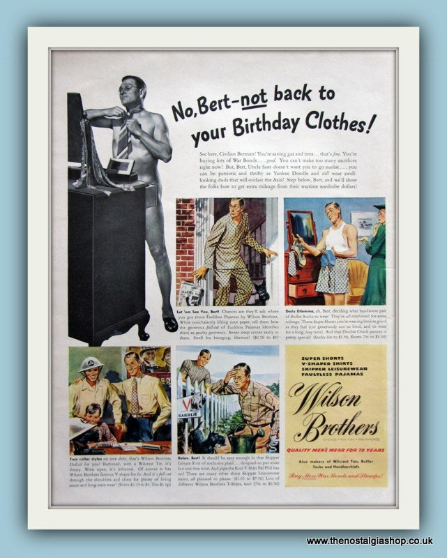 Wilson Brothers Mens Wear Original Advert 1943 (ref AD8171)