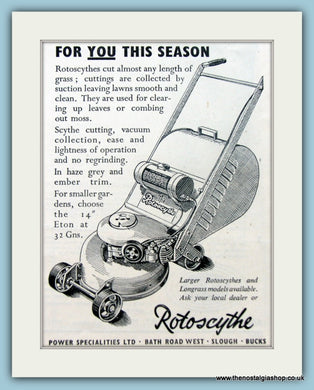 Rotoscythe Mower. Original Advert 1952 (ref AD4619)