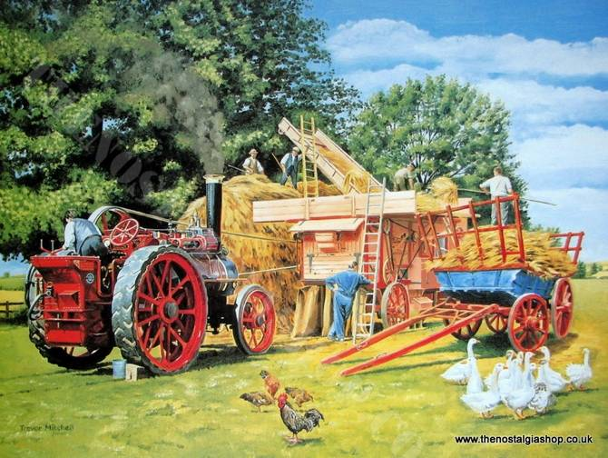 Threshing By Steam. Traction Engine Print (ref N54)