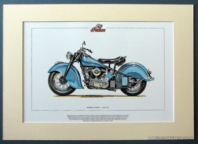 Indian Chief 1922-53. Mounted Motorcycle Print. (ref PR3011)
