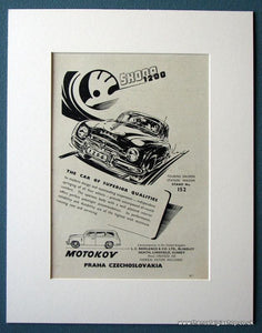 Skoda 1200 Motokov 1954 Set Of 3 Original Adverts (ref AD1237)