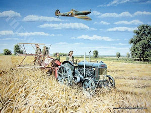 Harvesting Victory, Fordson Tractor & Spitfire print (ref N75)