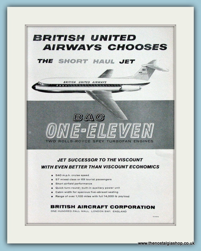 BAC One - Eleven. Original Advert 1961 (ref AD4260)