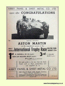 Aston Martin Abbey Panel & Sheet Metal Co Ltd Original Advert 1955 (ref AD6751)