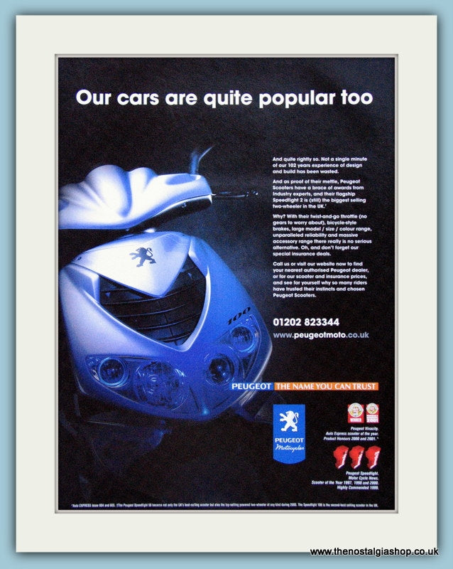 Peugeot 100 Scooter & Motorcycles Original Advert 2001 (ref AD4186)