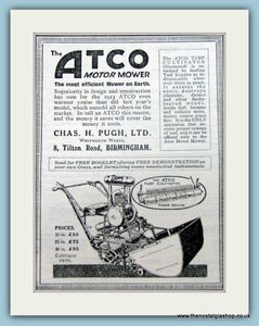 Atco Motor Mowers. Set of 2 Original Adverts 1920s (ref AD4631)